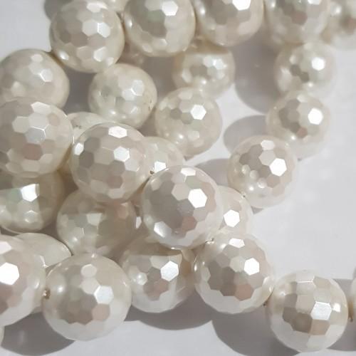 Perline Conchiglia | Conchiglie tonde bianche 6 mm grado aaaa filo 40 cm - Conc2