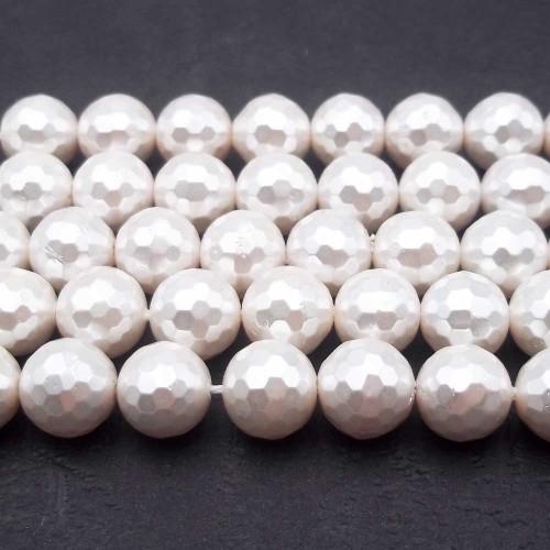 Perline Conchiglia | Conchiglie tonde bianche 8 mm grado aaaa filo 40 cm - Conc8