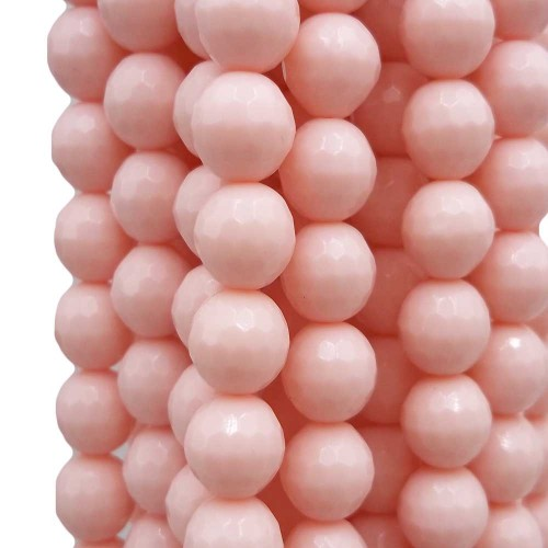 Agata Rosa | Agata rosa tonda sfaccettata 8 mm filo 40 cm - rosa8mm