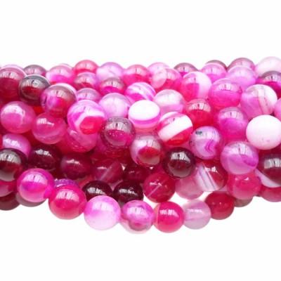 Agata rosa striata tonda liscia 6 mm filo 40 cm