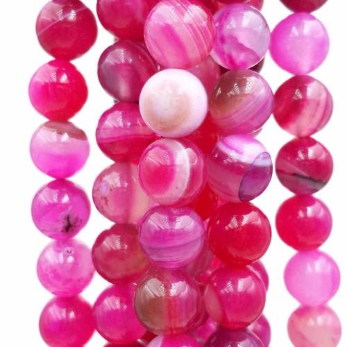 Agata Rosa   Agata rosa striata tonda liscia 8 mm filo 40 cm - agro8z