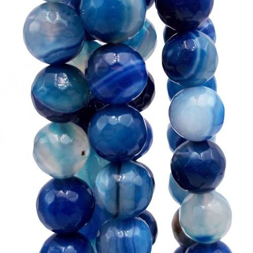 Agata Striata   Agata striata tonda sfaccettata 10 blu pacco da 10 pezzi - agbl10m