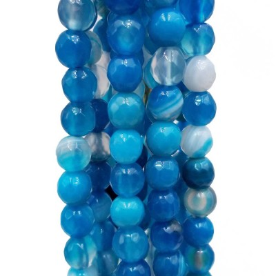 Agata striata tonda sfaccettata 6 mm azzurra filo da 40 cm
