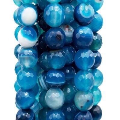 Agata striata tonda sfaccettata azzurra 10 mm pacco da 10 pezzi
