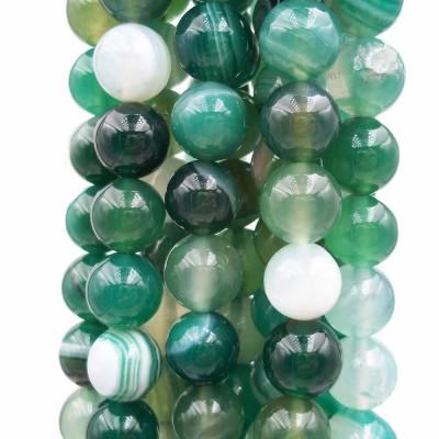 Agata verde striata tonda liscia 10 mm pacco 10 pz