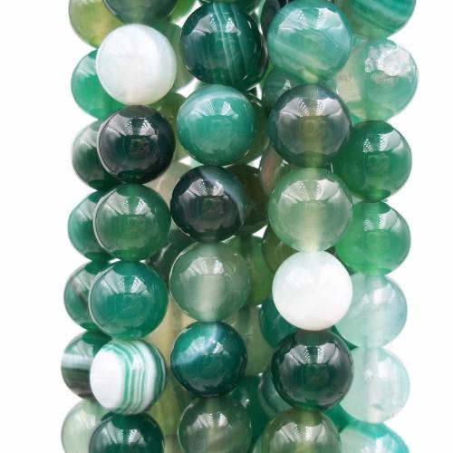 Agata Verde | Agata verde striata tonda liscia 10 mm pacco 10 pz - azsq6