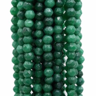Agata verde tonda sfaccettata 3 mm filo da 40 cm