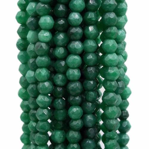 Agata Verde | Agata verde tonda sfaccettata 3 mm filo da 40 cm - agat271