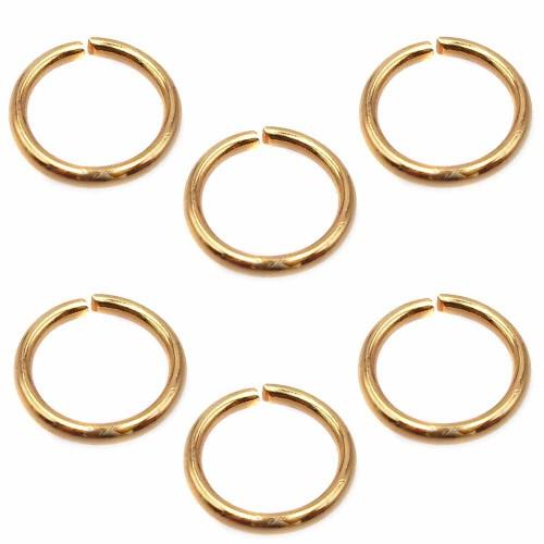 Anellini In Acciaio | Anellini in acciaio oro lucido 7x06 pacco 50 pezzi - 7x8mm2o