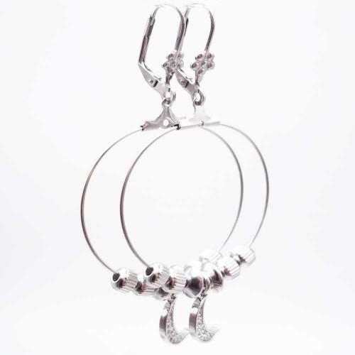Basi Per Orecchini   Base orecchini in acciaio cerchio 30 mm pacco 2 pz - bssy2
