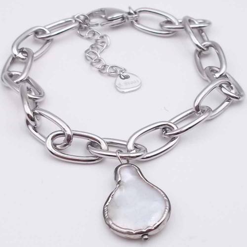 Bracciali In Acciaio | Bracciale in acciaio con perla di fiume multicolor regolabile da 17 a 21 cm - braa16p