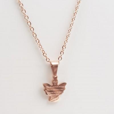 Collana in acciaio angelo con preghiera oro rosa 1 pezzo