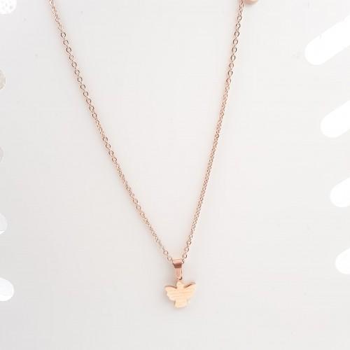 Collane In Acciaio | Collana in acciaio angelo con preghiera oro rosa 1 pezzo - Ang781