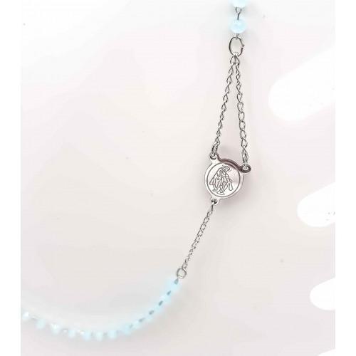 Bracciali Collane Rosario | Collana Rosario girocollo in acciaio cristalli acquamarina - Collr891