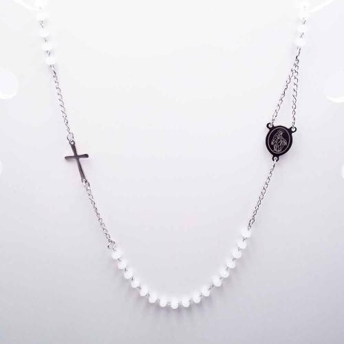 Bracciali Collane Rosario | Collana Rosario girocollo in acciaio cristalli bianco sporco - Collr895