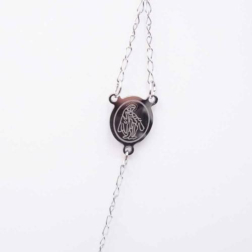 Bracciali Collane Rosario | Collana Rosario girocollo in acciaio cristalli argento - Collr897