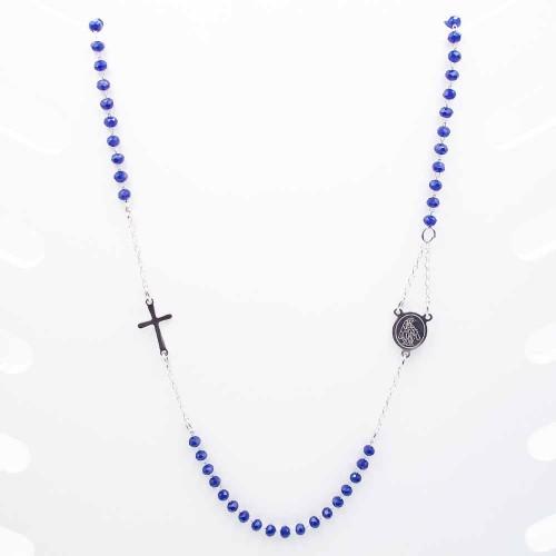 Bracciali Collane Rosario | Collana Rosario girocollo in acciaio cristalli blu - Collr896