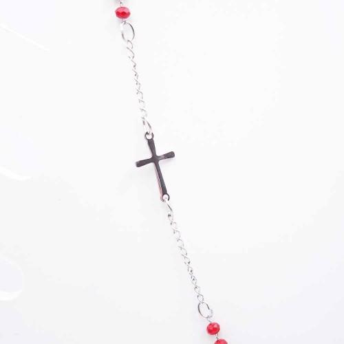 Bracciali Collane Rosario | Collana Rosario girocollo in acciaio cristalli rossi - Collr893