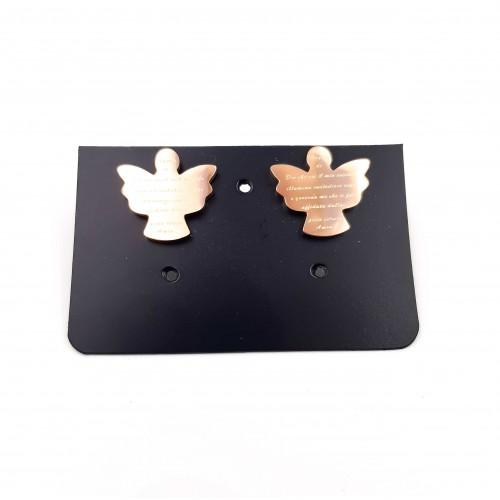 Orecchini In Acciaio | Orecchini in acciaio angelo con preghiera oro rosa pacco 2 pz - Axz8z9