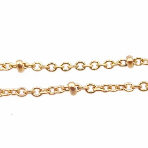 Catene In Acciaio | Catena in acciaio palline schiacciate oro maglia 2 mm 1 metro - ctapp2v2