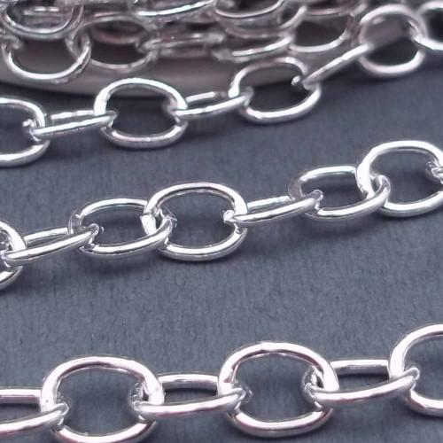 Catene Alluminio | Catena in alluminio ovale 7x5.7 mm argentata pacco 1 metro - ov7mm5