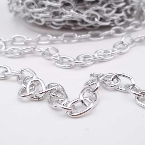Catene Alluminio | Catena in alluminio ovale argento 11.5x8.5 mm pacco 1 mt - w83