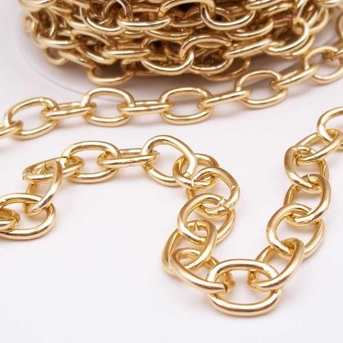 Catene Alluminio | Catena in alluminio ovale oro 11.5x8.5 mm pacco 1 mt - w82