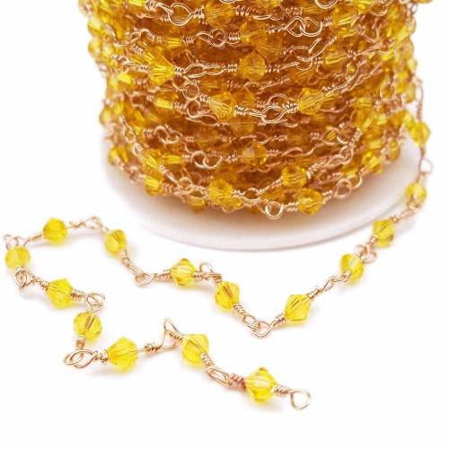 Catene Con Bicono | Catena Bicono gialli annodata a mano oro pacco 50 cm - cata1020