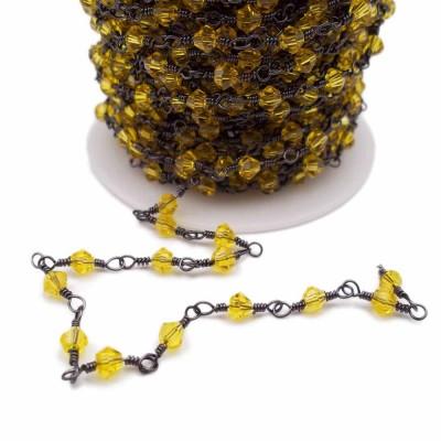Catena Bicono gialli annodata a mano rodio pacco 50 cm