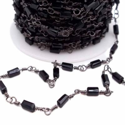 Catena ottone color rodio con cristalli rettangolari neri pacco 50 cm