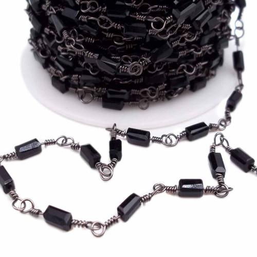 Catene Rosario | Catena ottone color rodio con cristalli rettangolari neri pacco 50 cm - rt257z1