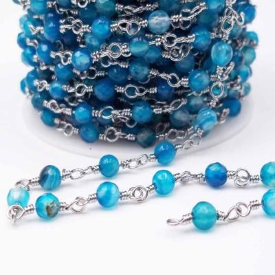 Catena rosario con pietre dure agata azzurra 4.5 mm pacco 50 cm