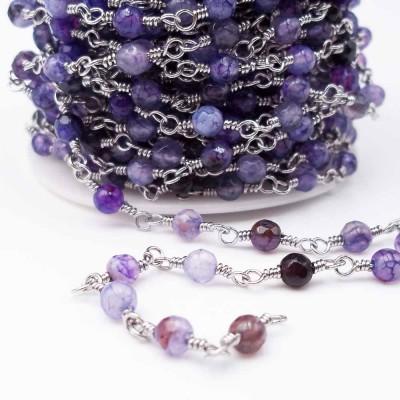 Catena rosario con pietre dure agata di fuoco 4.5 mm pacco 50 cm