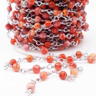 Catena rosario con pietre dure agata di fuoco arancio 4,5 mm pacco 50 cm