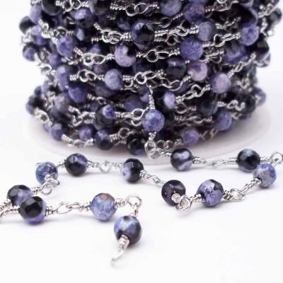 Catena rosario con pietre dure agata di fuoco viola scuro 4,5 mm pacco 50 cm