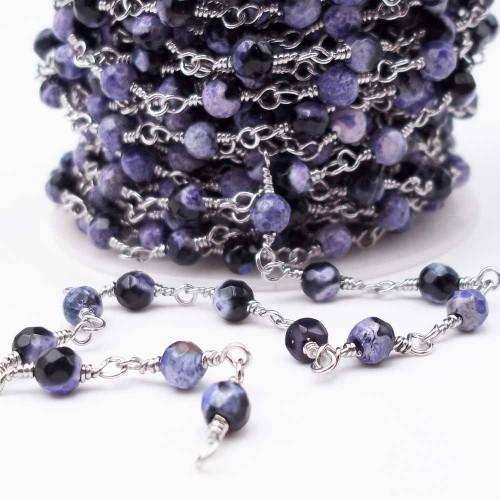 Catene Rosario | Catena rosario con pietre dure agata di fuoco viola scuro 4,5 mm pacco 50 cm - ll16