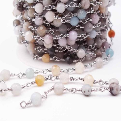 Catene Rosario | Catena rosario con pietre dure amazzonite 4,5 mm pacco 50 cm - ll13