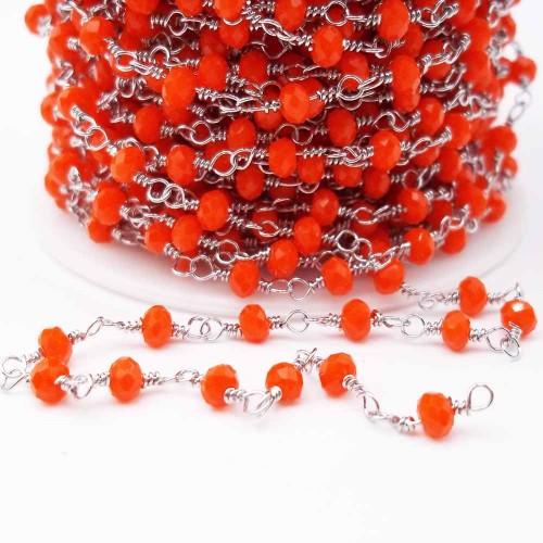 Catene Rosario | Catena rosario in acciaio con cristalli arancioni 3,3 mm pacco 50 cm - ll1