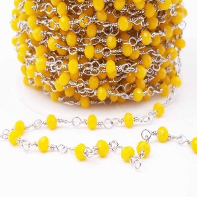 Catena rosario in acciaio con cristalli gialli 3,3 mm pacco 50 cm