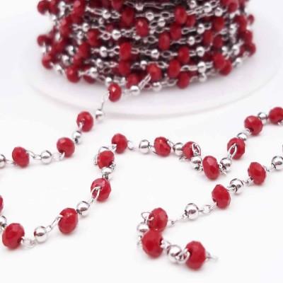Catena rosario in ottone rodio rondelle rosse e palline pacco 50 cm