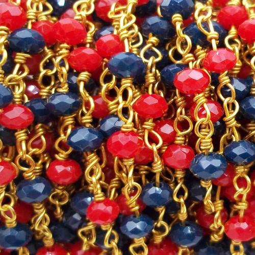 Catene Rosario | Catena rosario ottone cristalli rossi e blu notte filo oro pacco 50 cm - rosc5b1