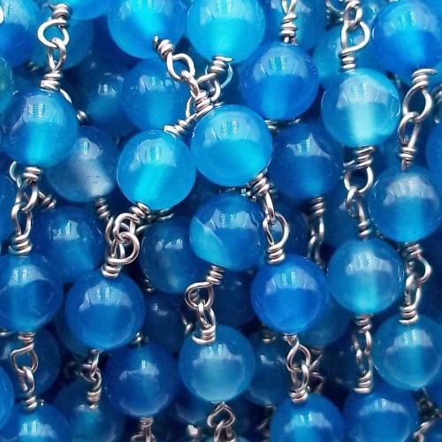 Catene Rosario   Catena rosario pietre dure agata azzurra liscia 6 mm pacco 50 cm - wa1133