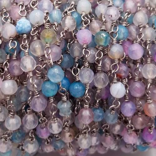 Catene Rosario | Catena rosario pietre dure berillo 4 mm filo rodio pacco 50 cm - berillo992