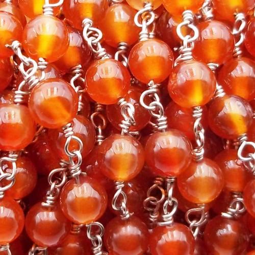 Catene Rosario | Catena rosario pietre dure corniola liscia 6 mm pacco 50 cm - coros773