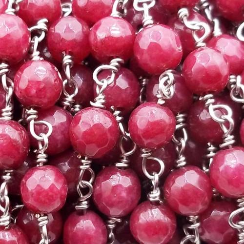 Catene Rosario | Catena rosario pietre dure diaspro rosso sfac. 6 mm pacco 50 cm - ddue9x11