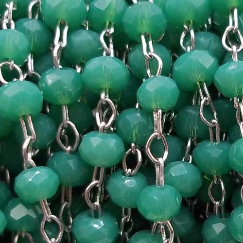 Catene Rosario   Catena rosario in ottone cristalli verdi 2 mm pacco 50 cm - verde773