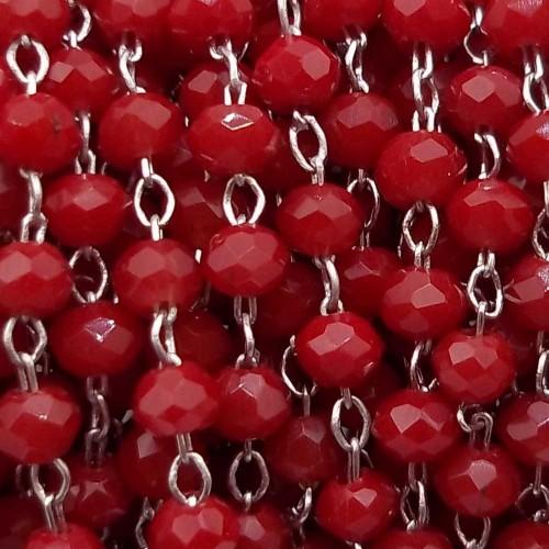 Catene Rosario | Catena rosario in ottone rodiato cristalli rossi 2 mm pacco 50 cm - ross9v5
