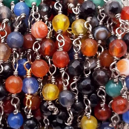 Catene Rosario   Catena rosario pietre dure agata colorata tonda 4 mm filo rodio pacco 50 cm - agtt277a