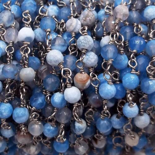 Catene Rosario   Catena rosario pietre dure agata di fuoco azzurra tonda 4 mm filo rodio pacco 50 cm - cnn02j62