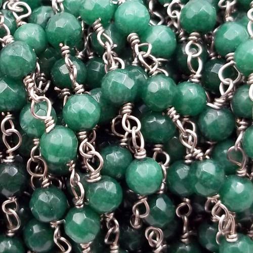 Catene Rosario   Catena rosario pietre dure agata verde tonda 4 mm filo rodio pacco 50 cm - ag5ved2